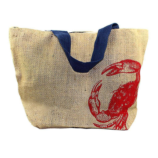 Tote Bags - Nautical Jute Sack With Red Crab By The Royal Standard