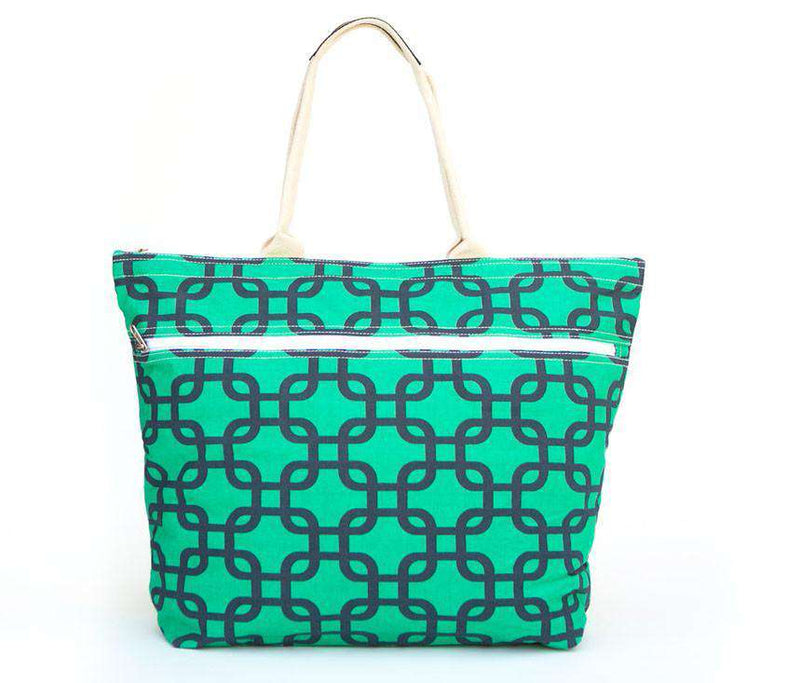 Tote Bags - Navy And Green Link Zipper Tote By Queen Lane