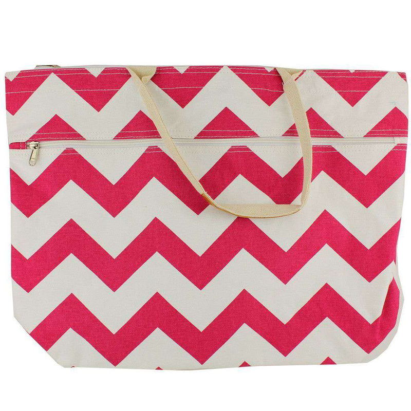 Tote Bags - Pink Zig Zag Zipper Tote By Queen Lane - FINAL SALE