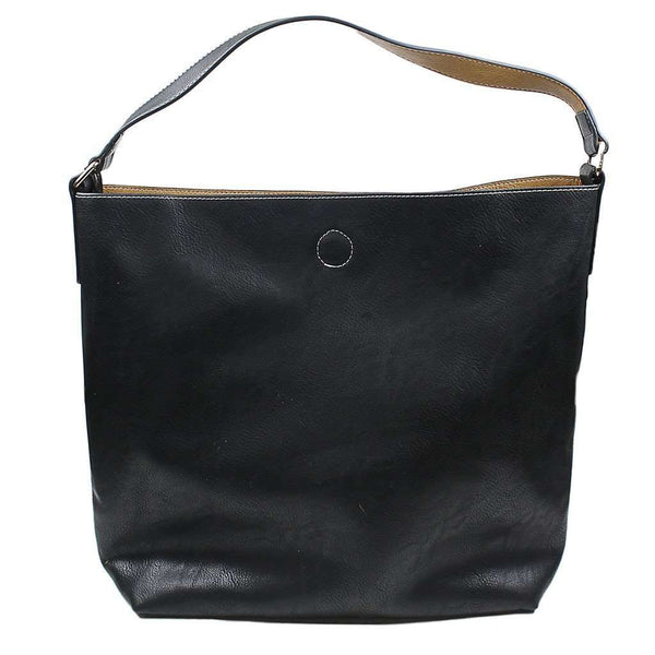 Tote Bags - Reversible Faux Leather Tote In Black/ Camel By Street Level - FINAL SALE