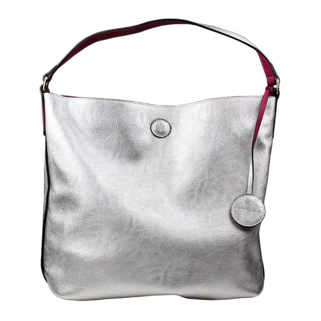 Tote Bags - Reversible Faux Leather Tote In Fucshia/Silver By Street Level - FINAL SALE