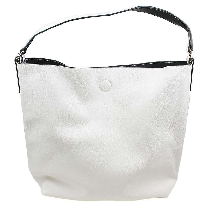 Tote Bags - Reversible Faux Leather Tote In Ivory/Black By Street Level - FINAL SALE