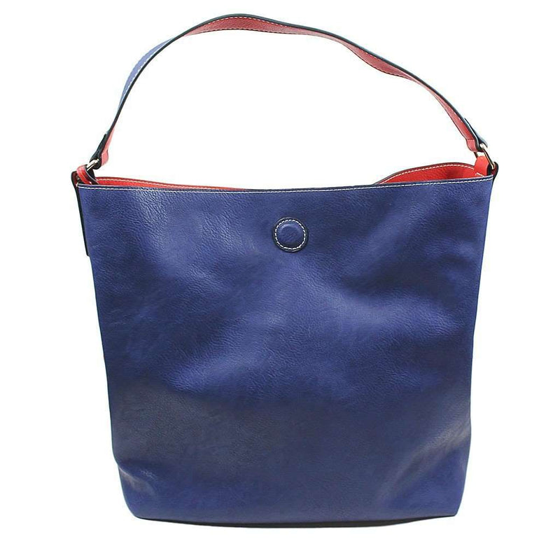 Tote Bags - Reversible Faux Leather Tote In Red/Navy By Street Level - FINAL SALE