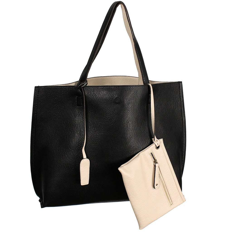 Reversible Faux Leather Tote & Wristlet in Black/Ivory by Street Level - Country Club Prep