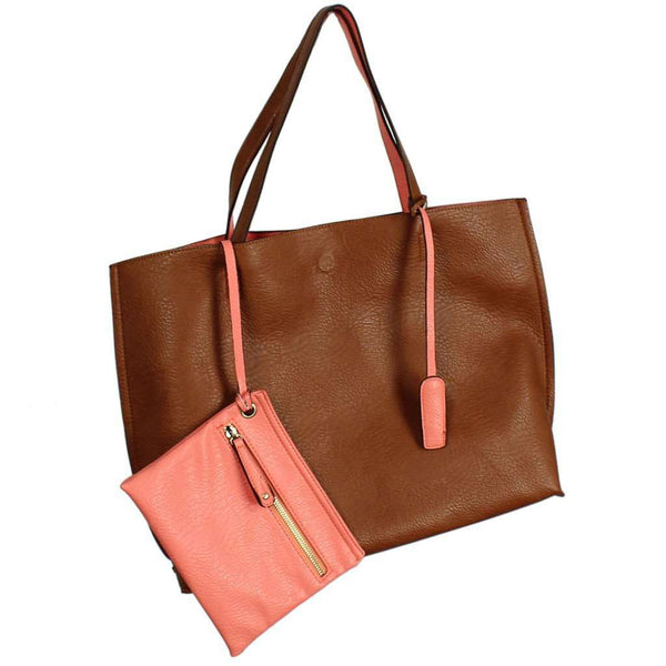 Reversible Faux Leather Tote & Wristlet in Brown/Salmon by Street Level - Country Club Prep
