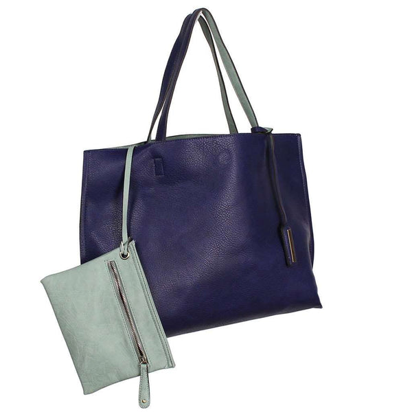 Reversible Faux Leather Tote & Wristlet in Cobalt/Mint by Street Level - Country Club Prep