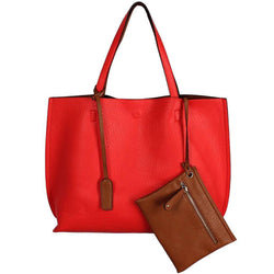 Reversible Faux Leather Tote & Wristlet in Coral/Brown by Street Level - Country Club Prep