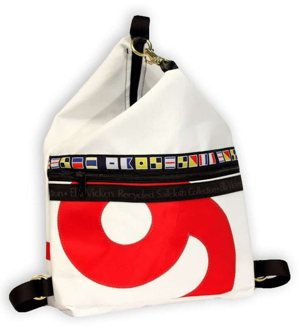 Sardinia Backpack in White With Random Number by Ella Vickers