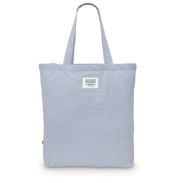 Seersucker Tote Bag in Blue by Sloane Ranger