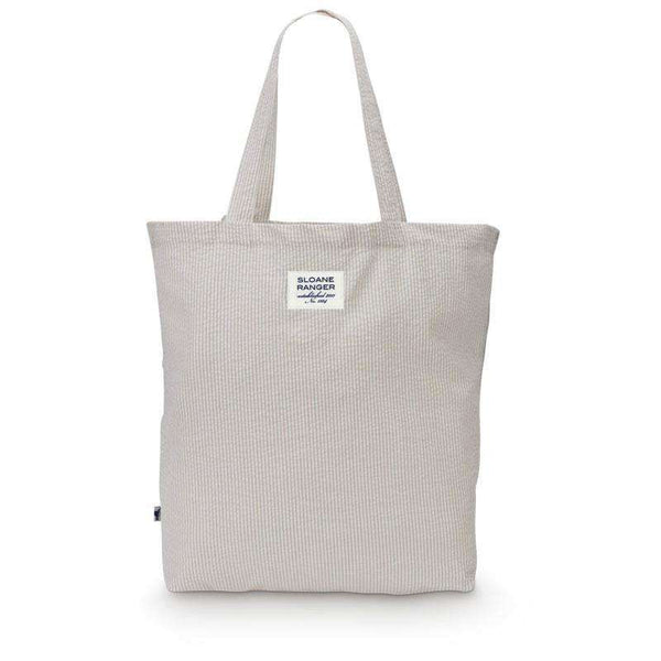 Seersucker Tote Bag in Khaki by Sloane Ranger