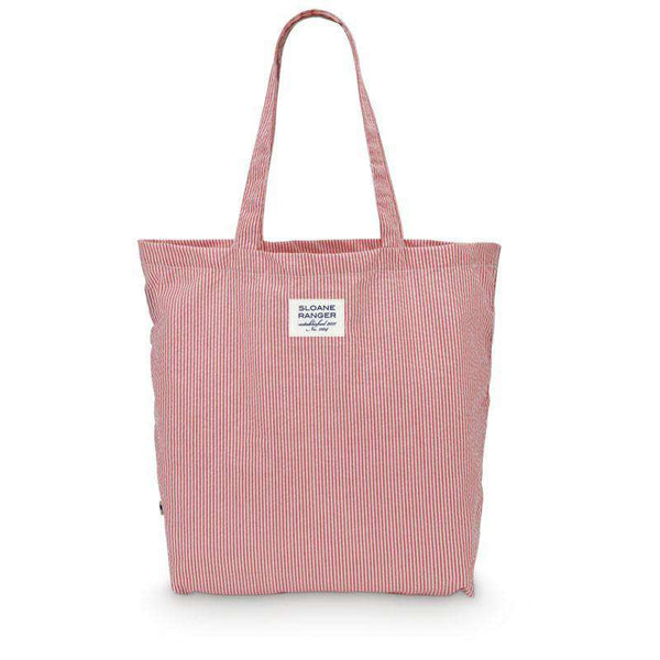 Seersucker Tote Bag in Red by Sloane Ranger