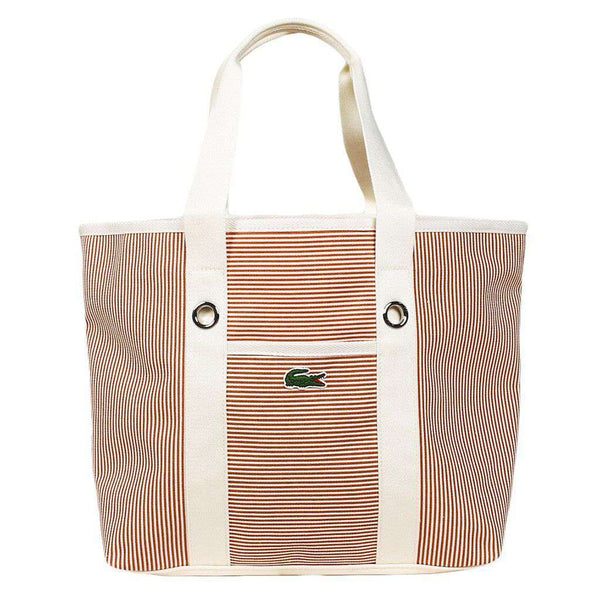 Summer Striped Medium Tote in Autumn Glaze and White by Lacoste - FINAL SALE