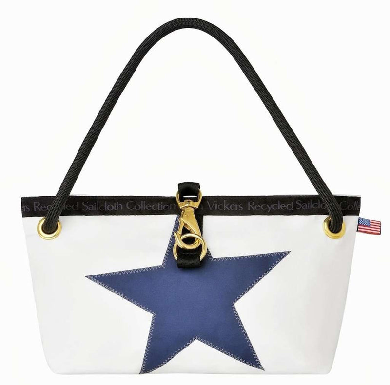 The Charleston Handbag in White with Blue Star by Ella Vickers