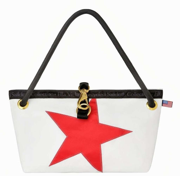The Charleston Handbag in White with Red Star by Ella Vickers