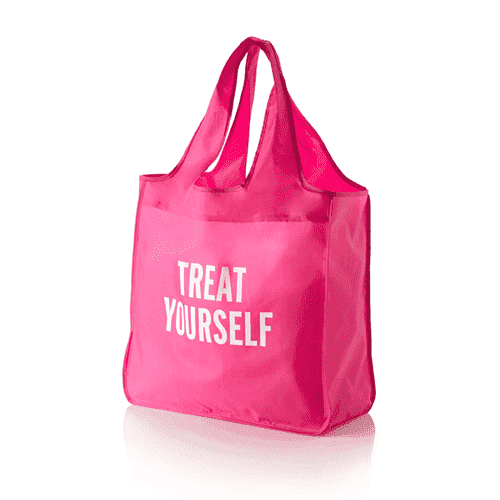 "Tote Bags - ""Treat Yourself"" Reusable Shopping Tote In Pink By Kate Spade New York"