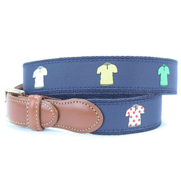 Tour de France Leather Tab Belt in Navy by Country Club Prep  - 1