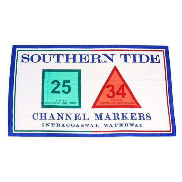 Towels - Channel Marker Beach Towel In White By Southern Tide