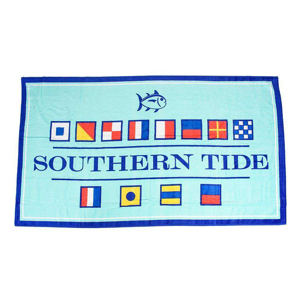 Towels - Nautical Flag Beach Towel In Offshore Green By Southern Tide