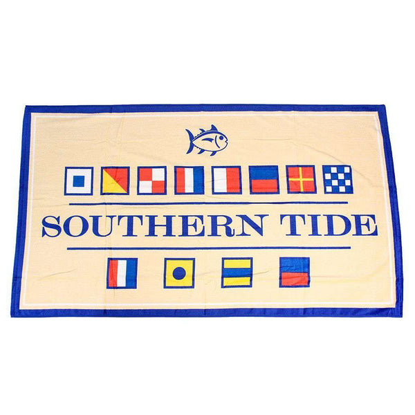 Towels - Nautical Flag Beach Towel In Pineapple By Southern Tide