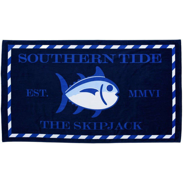 Towels - Skipjack Beach Towel In Yacht Blue By Southern Tide