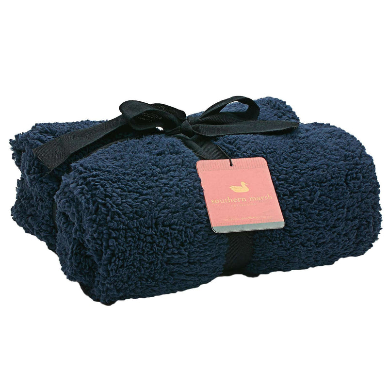 Towels - Watson Fluffy Pile & Tartan Blanket In Colonial Navy By Southern Marsh