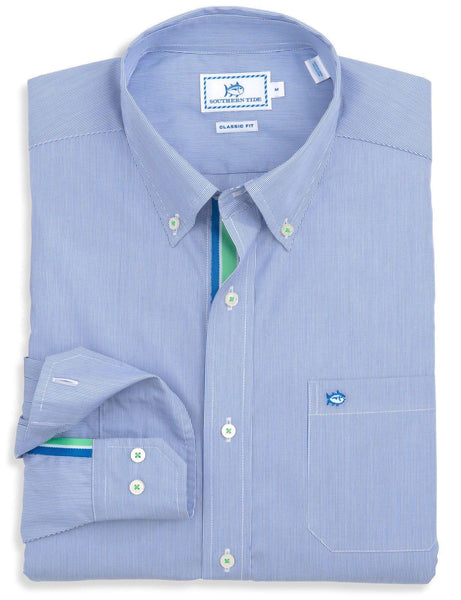 Trade Street Stripe Sport Shirt in Ultramarine by Southern Tide  - 1