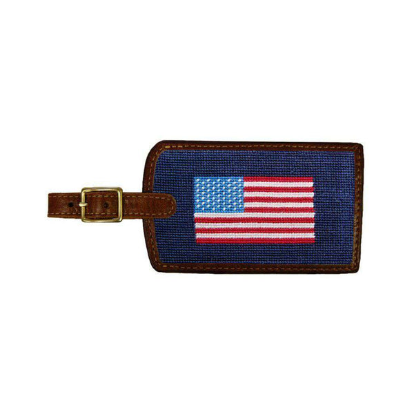 Travel & Gym - American Flag Needlepoint Luggage Tag By Smathers & Branson