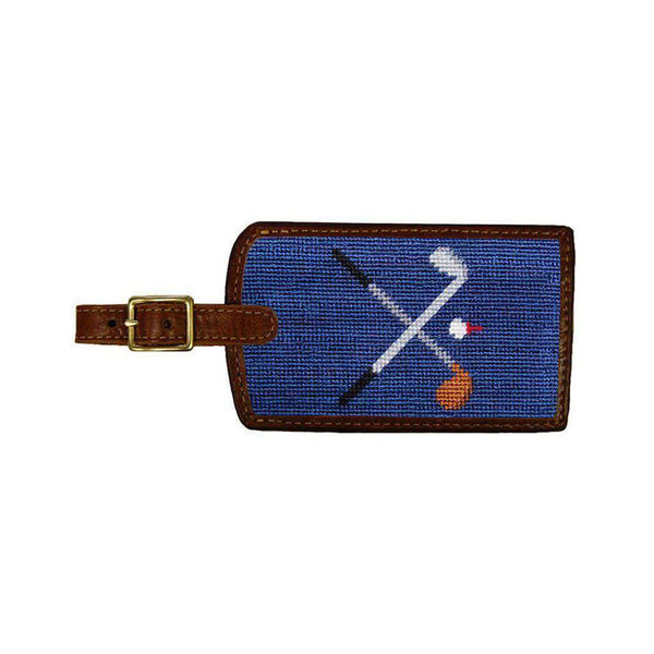 Travel & Gym - Crossed Clubs Needlepoint Luggage Tag In Classic Navy By Smathers & Branson
