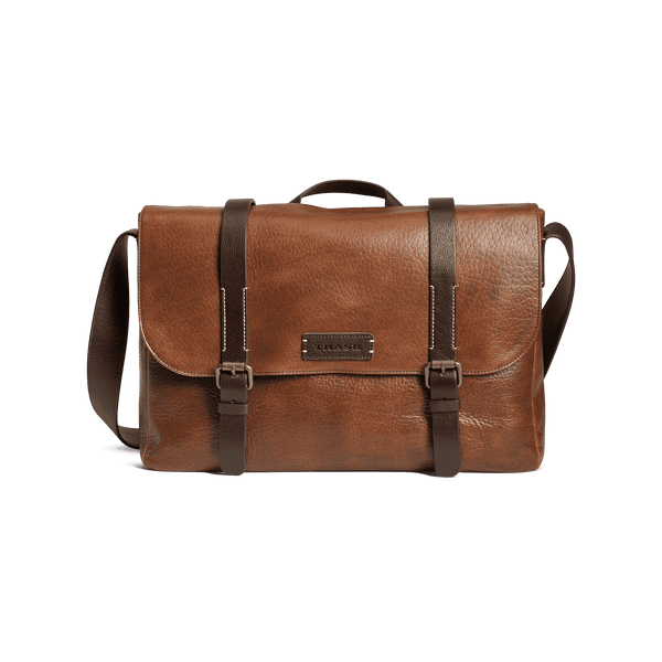 Jackson Flapover Messenger Bag in Cognac American Bison by Trask