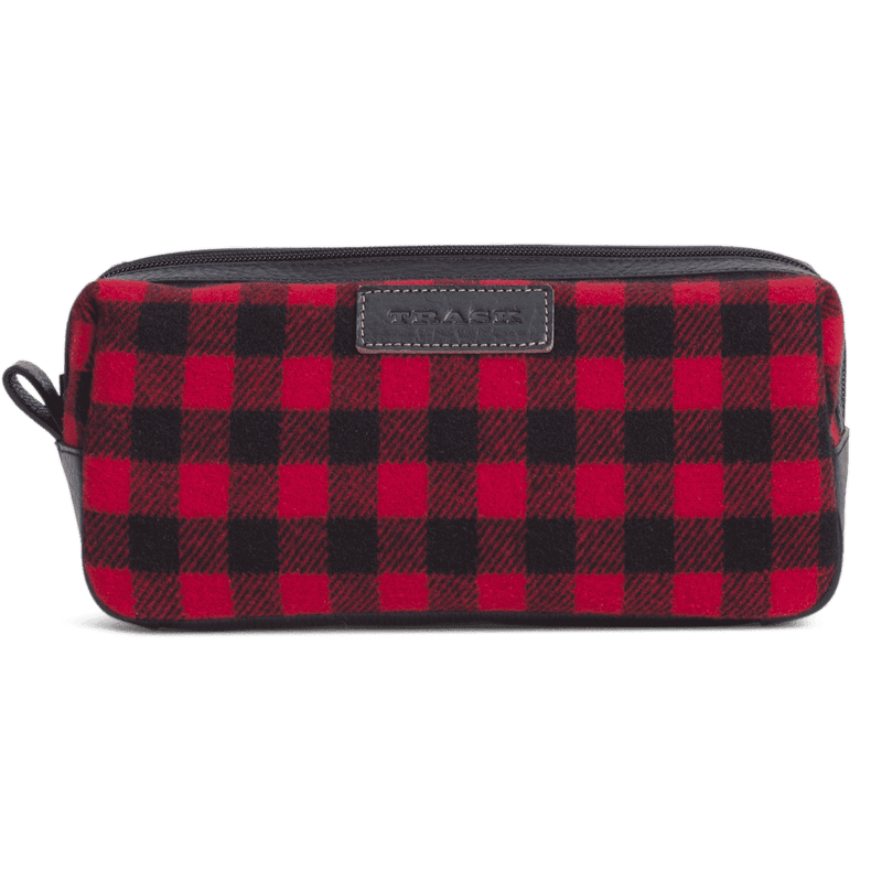 Jackson Toiletry Kit in Red and Black Italian Wool by Trask
