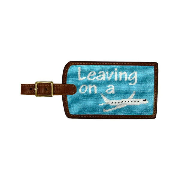 Travel & Gym - Leaving On A Plane Needlepoint Luggage Tag In Teal By Smathers & Branson