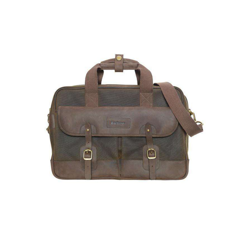 Travel & Gym - Mizzen Briefcase In Olive Green By Barbour