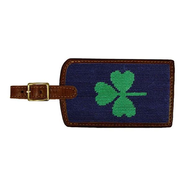 Shamrock Needlepoint Luggage Tag in Dark Navy by Smathers & Branson