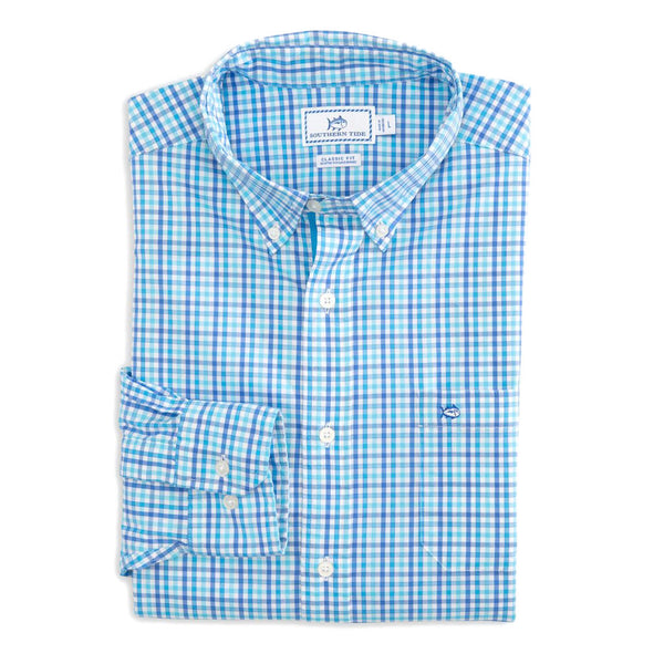Coastal Passage Triple Gingham Sport Shirt by Southern Tide