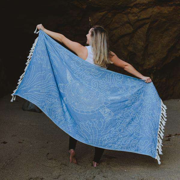 Sand Cloud Blue Sea Turtle Reef Towel by Sand Cloud
