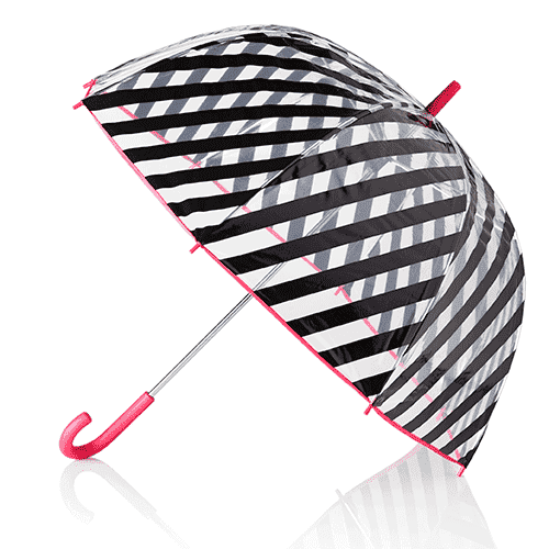 Umbrellas - Clear Umbrella In Black Stripes By Kate Spade New York - FINAL SALE