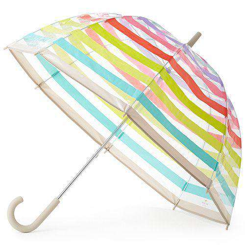Umbrellas - Clear Umbrella In Multi Stripes By Kate Spade New York - FINAL SALE