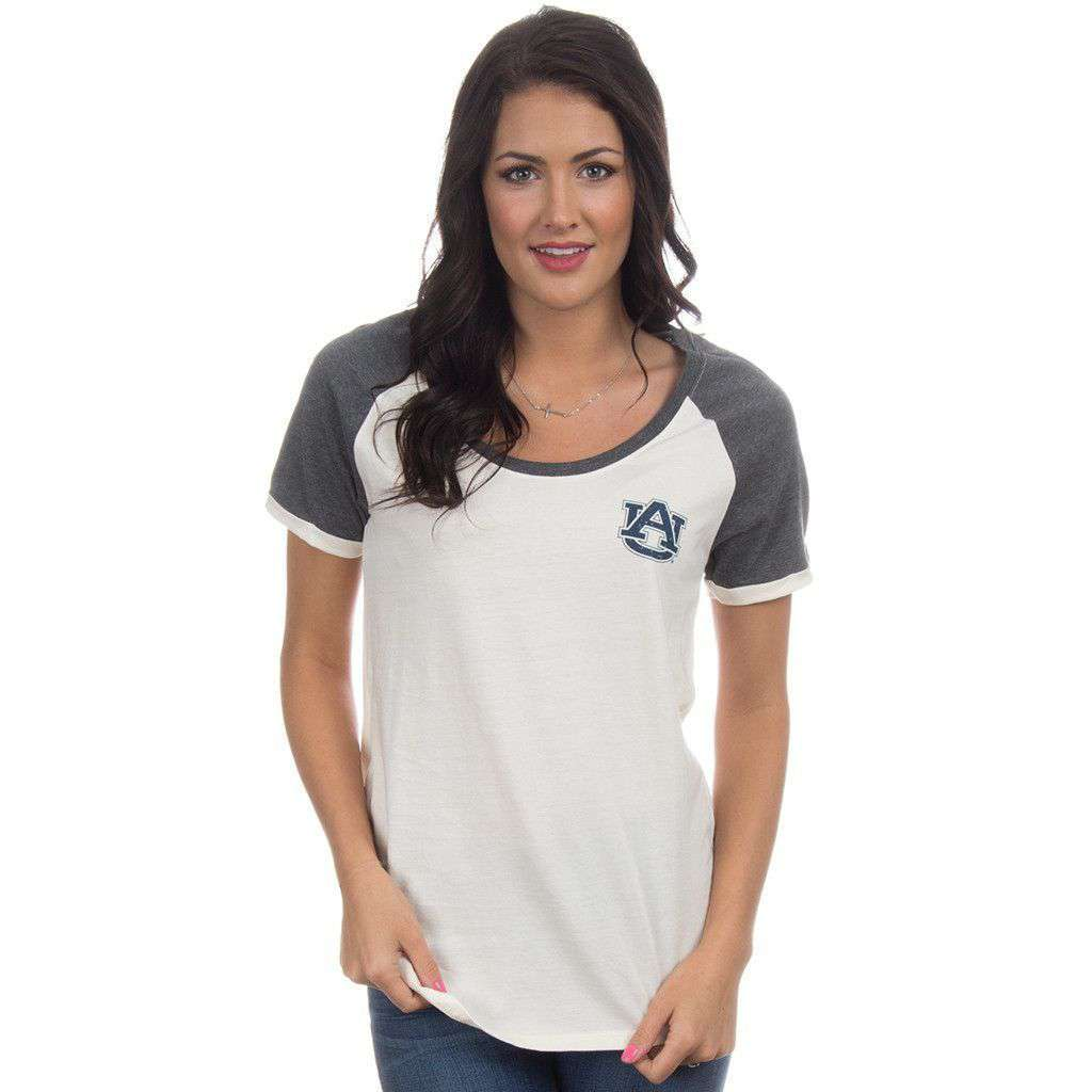 Auburn Vintage Tailgate Tee in White and Heathered Grey by Lauren James  - 1