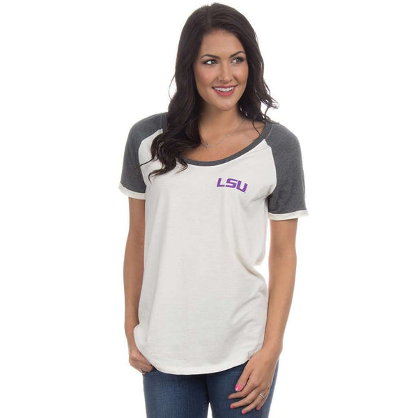 LSU Vintage Tailgate Tee in White and Heathered Grey by Lauren James  - 1