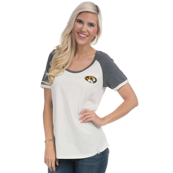 Mizzou Vintage Tailgate Tee in White and Heathered Grey by Lauren James  - 1