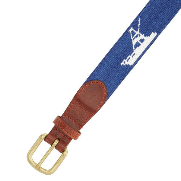 Smathers and Branson Vineyard Vines Sport Fishing Needlepoint Belt in Navy by Smathers & Branson