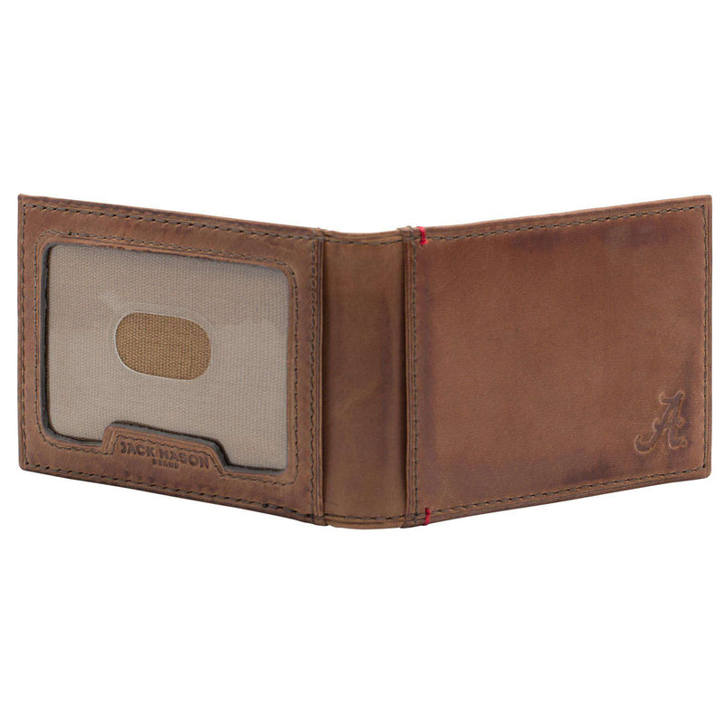 Wallets - Alabama Crimson Tide Campus Flip Bifold Front Pocket Wallet By Jack Mason