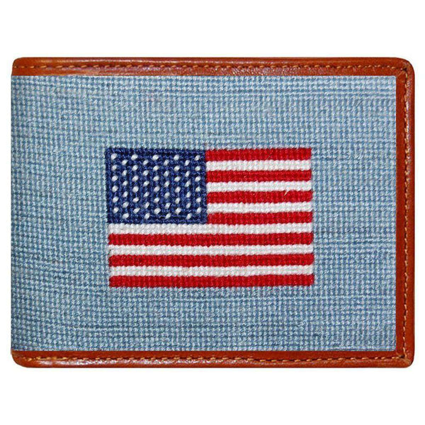 Wallets - American Flag Needlepoint Wallet In Antique Blue By Smathers & Branson
