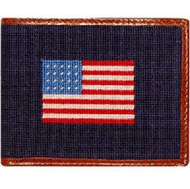 Wallets - American Flag Needlepoint Wallet In Navy By Smathers & Branson