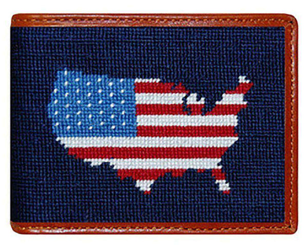 Wallets - Americana Needlepoint Wallet In Navy By Smathers & Branson