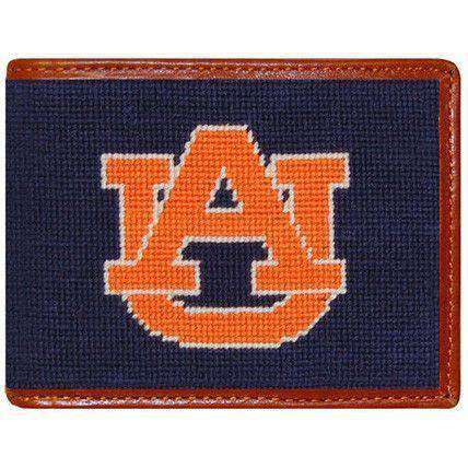 Auburn Needlepoint Wallet in Navy by Smathers & Branson