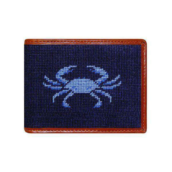 Wallets - Blue Crab Needlepoint Bi-Fold Wallet In Dark Navy By Smathers & Branson