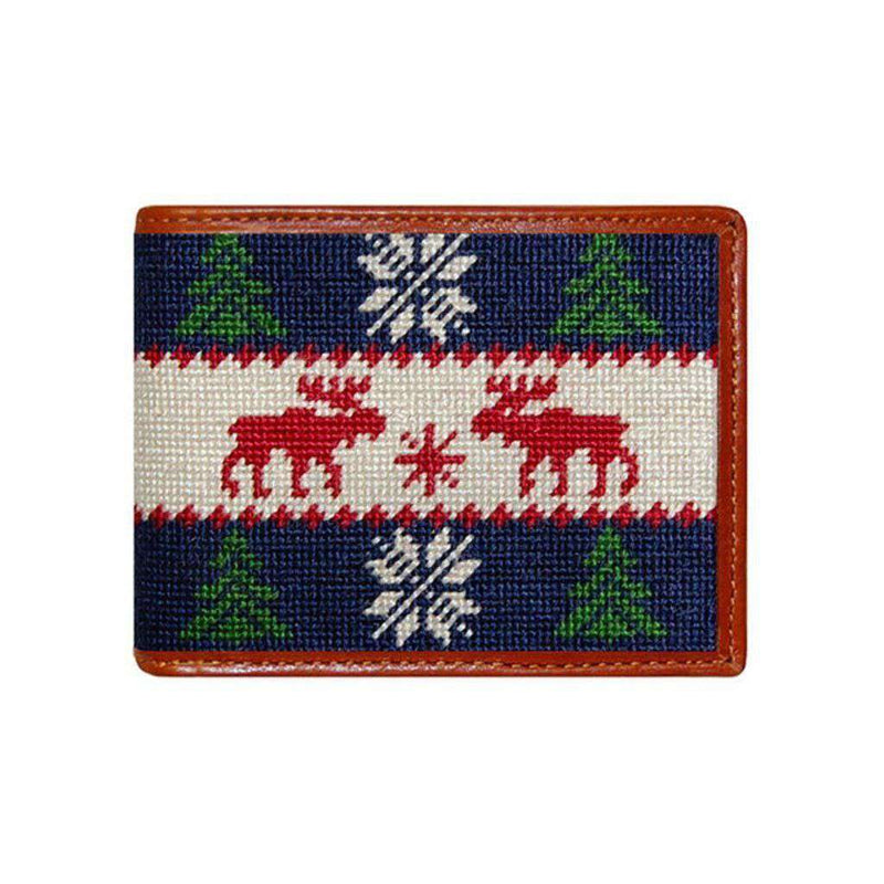 Wallets - Christmas Sweater Needlepoint Wallet In Navy By Smathers & Branson
