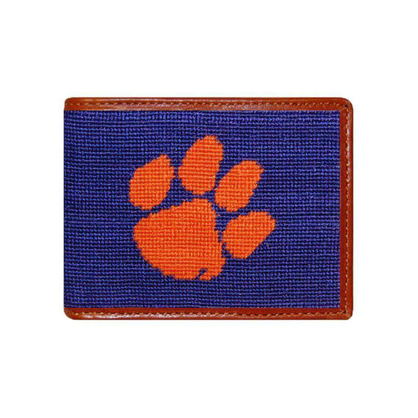 Wallets - Clemson Needlepoint Wallet In Purple By Smathers & Branson