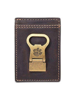 Wallets - Clemson Tigers Gridiron Mulitcard Front Pocket Wallet By Jack Mason
